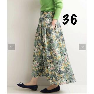 IENA - 新品未使用 かすれフラワー ギャザースカート グリーン 36