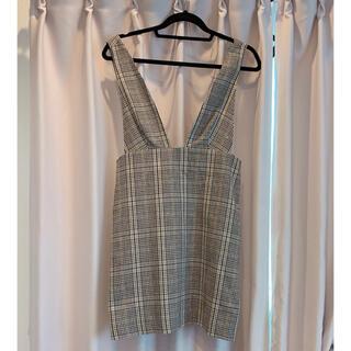 ザラ(ZARA)の【新品未使用】ZARA チェック ジャンパースカート Mサイズ(ひざ丈スカート)