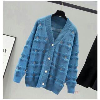 長袖にカーディガンをニットする 秋冬 セーターコート ブルー レディースK(カーディガン/ボレロ)