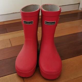 美品 OCEAN&GROUND オーシャン&グラウンド 長靴 20cm 赤(長靴/レインシューズ)