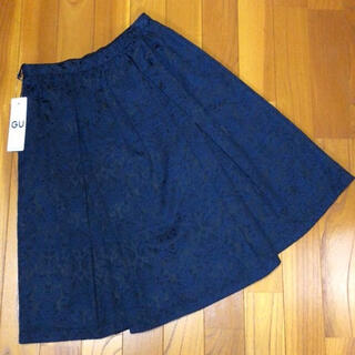 ザラ(ZARA)のGU スカート ネイビー(ひざ丈スカート)