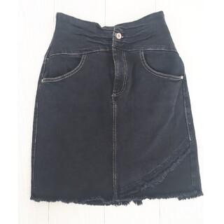 ザラ(ZARA)のZARA ブラック デニム スカート (ひざ丈スカート)