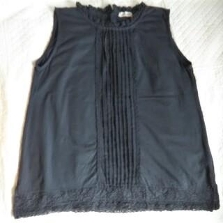 サマンサモスモス(SM2)のサマンサモスモス《美品》衿&裾レースタンクトップ/ブラック(タンクトップ)