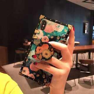 リング付 花柄 鏡面 スクエア メッキ調 galaxy ケース(Androidケース)