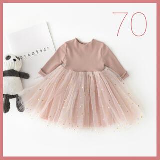 韓国子供服 スター チュール ワンピース ドレス 女の子 ピンク 70cm(セレモニードレス/スーツ)