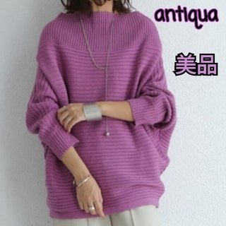 antiqua - 美品⭐アンティカ antiqua リブネックニット ピンク