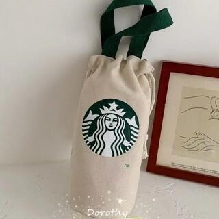Starbucks Coffee - 【スターバックス】 ミニキャンバスバッグ 巾着バッグ ベージュ