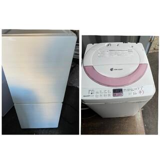 シャープ(SHARP)のユーイング2ドア冷蔵庫&SHARP6キロ洗濯機 💍家電2点セット💍(洗濯機)