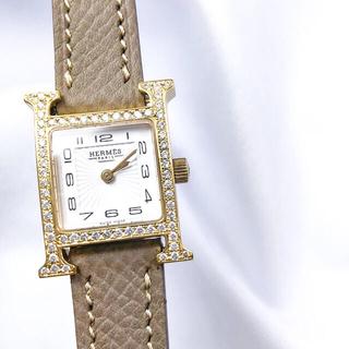 Hermes - 【仕上済】エルメス Hウォッチ ミニ ゴールド 現行 ダイヤ レディース 時計