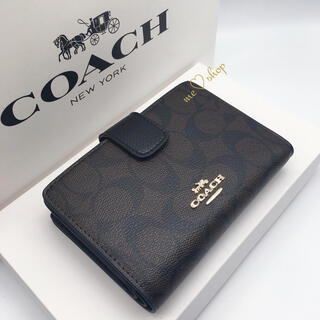 COACH - ✯新品・未使用✯COACH 二つ折り財布 ブラック×ダークブラウン🎀箱付き♪