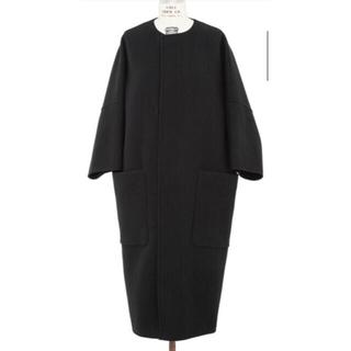 Drawer - drawer ノーカラー コート ブラック