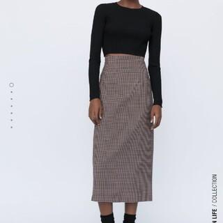 ザラ(ZARA)のZARA今季完売ギンガムチェック柄スカートM(ひざ丈スカート)