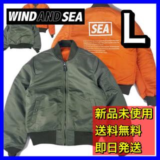 シー(SEA)のWIND AND SEA フライトジャケット MA-1 ma1 オリーブ L(フライトジャケット)