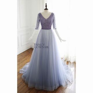 高品質! パーティードレス ミニトレーン/短トレーン Vネックドレス 優雅なシル(ウェディングドレス)