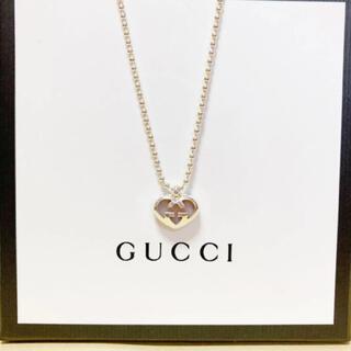 Gucci - GUCCI ハート ピンクストーン ネックレス