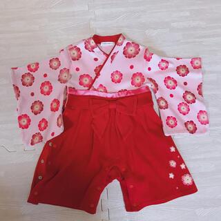 ベルメゾン(ベルメゾン)の袴ロンパース 着物 女の子 可愛い 80 袴 ひな祭り 卒業式(和服/着物)
