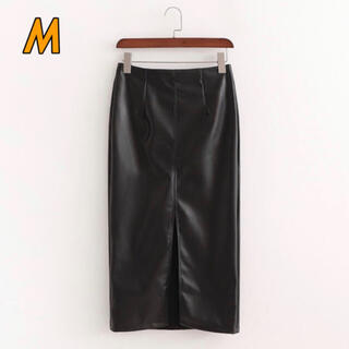 ザラ(ZARA)のレザースカート レトロ 黒 ZARA GU しまむら(ひざ丈スカート)