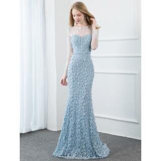 上品! パーティードレス 薄青 マーメイドライン 優雅なシルエット ファスナー (ウェディングドレス)