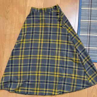GU - GU チェック ロングスカート   グレー マスタードカラー ネイビー