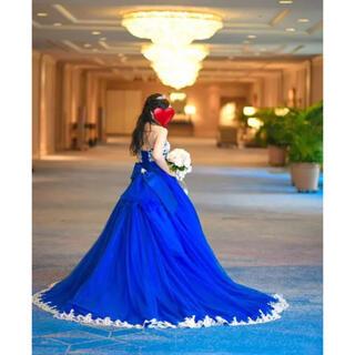 【美品】ロイヤルブルーカラードレス  パニエ ・装飾付き(ウェディングドレス)