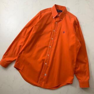 【美品】ラルフローレン 長袖シャツ オレンジ色 ゆるコーデ 古着 メンズ