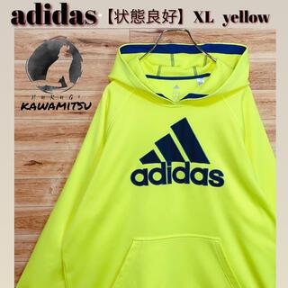アディダス(adidas)の【美品】adidas アディダス パーカー XL 蛍光イエロー ロゴ プリント(パーカー)