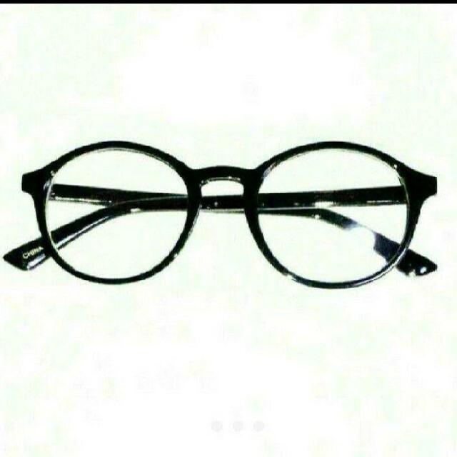 レンズ無しタイプ 新品 送料込み 丸眼鏡 デザイン 伊達メガネ ブラック 黒縁 メンズのファッション小物(サングラス/メガネ)の商品写真