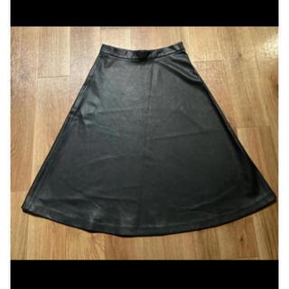 ザラ(ZARA)のZARA 膝丈レザーフレアスカート ブラック(ひざ丈スカート)