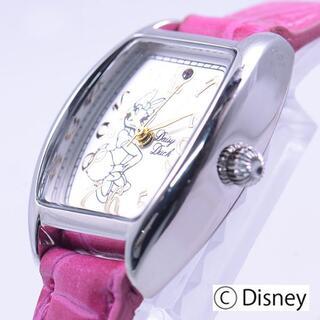 ディズニー(Disney)の【送料無料】クロコ型押本革パープルベルトウォッチ デイジー【新品未使用】(腕時計)