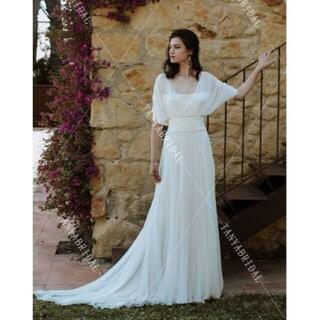 高品質! ウエディングドレス アイボリー ふんわりシフォン ミニトレー(ウェディングドレス)