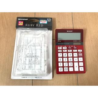 美品●SHARP 電卓 シャープ EL-M822 赤 フルセット