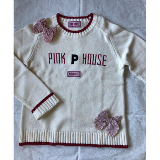 ピンクハウス(PINK HOUSE)のピンクハウス♡ロゴ編み込みロゴパッチのシンプルな綿ニット♡(ニット/セーター)