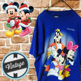 ディズニー(Disney)の【レア】ディズニー☆ビッグロゴ クルーネックコットンTシャツ USA製(Tシャツ/カットソー(半袖/袖なし))