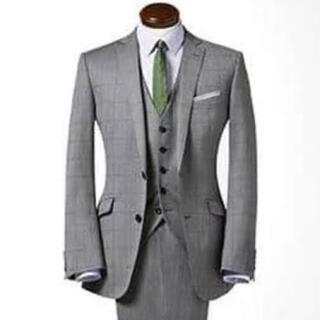 スーツセレクト  メンズ スーツ  ジャケット ベスト セット グレー チェック(スーツジャケット)