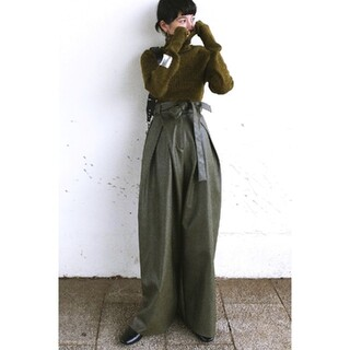 STUDIOUS - CLANE クラネWIDE TUCK LEATHER PANTS