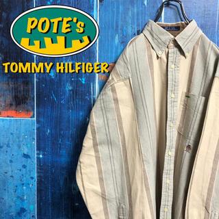 TOMMY HILFIGER - 【トミーヒルフィガー】オールド刺繍ロゴワークレトロストライプシャツ 90s