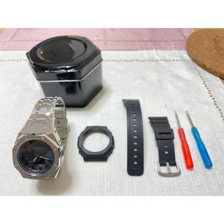 GA-2100(黒×黒) カシオーク G-ショック メタルブレスセット