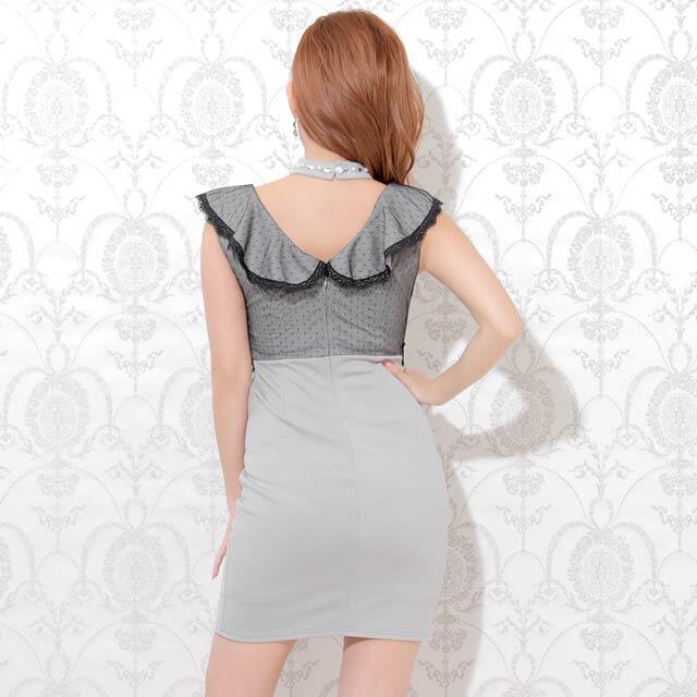 dazzy store(デイジーストア)の【未開封】チョーカー付きドットクラシカルタイトミニドレス グレー レディースのフォーマル/ドレス(ナイトドレス)の商品写真