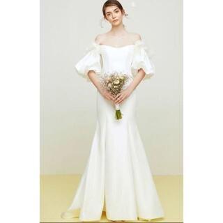 エレガント ウエディングドレス ホワイト マーメイドライン オフショルダー(ウェディングドレス)