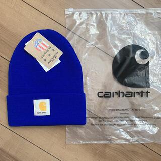 カーハート(carhartt)のカーハート ニット帽 青 即購入可(ニット帽/ビーニー)
