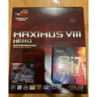 エイスース(ASUS)の★i7-7700k★asus MAXIMUS Ⅷ★CPU、マザーボードセット★(PCパーツ)