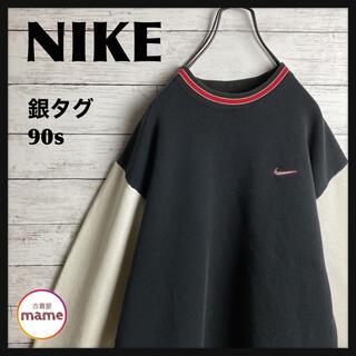 ナイキ(NIKE)の【激レア‼︎】NIKE◎スウォッシュ刺繍 白黒 リブライン スウェット(スウェット)