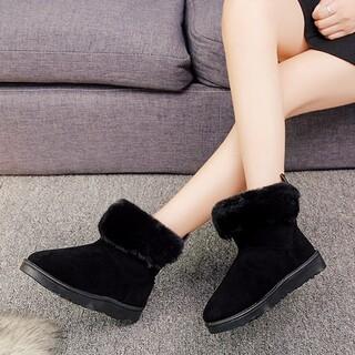 雪のブーツの女性の百は毛の短い羽毛を加えて暖かくて滑りにくい短いブーツの綿の靴(レインブーツ/長靴)