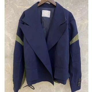 サカイ(sacai)のsacai サカイ ニット スーツジャケット 継接ぎ M(Tシャツ/カットソー(半袖/袖なし))