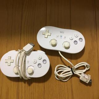 ウィー(Wii)のwii クラシックコントローラー セット 白 2(家庭用ゲーム機本体)