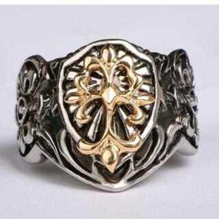 ゴールド & シルバーカラーの クロス モチーフ リング ユリ フレア 指輪(リング(指輪))