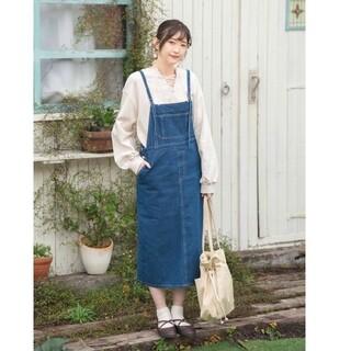 シマムラ(しまむら)のプチプラのあや しまむら DFホソサスJSK94  ジャンパースカート ブルー (ロングスカート)