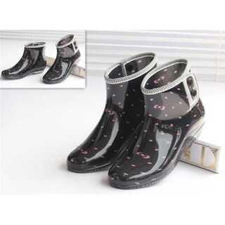 ショートチューブ ブーツ 防水靴 女性用 カジュアル ラバーシューズ(レインブーツ/長靴)