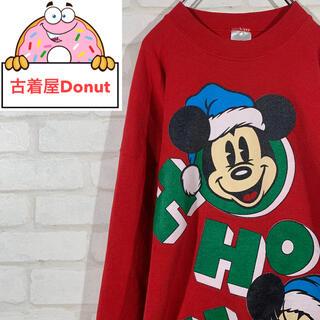 ディズニー(Disney)の《超レア》ディズニー ミッキーマウス ビッグデザイン スウェットシャツ レッド(スウェット)