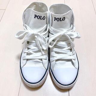 POLO RALPH LAUREN - POLO ポロ キャンバス スニーカー ハイカット ホワイト 23.5cm